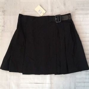 Cotton Candy black wrap pleated buckle skirt sz S